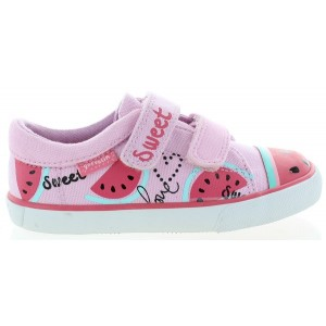 Pink European canvas shoes for girls