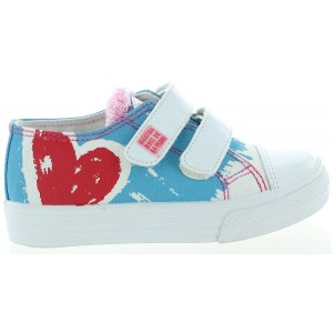 Canvas sneakers for girl in blue and white