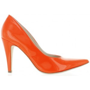 Pumps for women pointy toes in orange leather