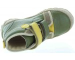 Ortho shoes for a child with good arches in green leather