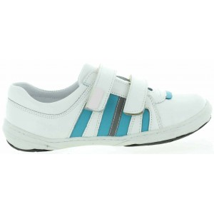 White leather ankle support athletic shoes for child