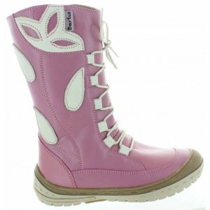 Tall pink leather snow boots for girls