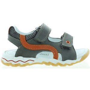 Comfort leather sandals for boys in gray leather
