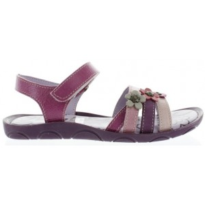 Sandals for girls in purple leather
