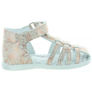 High arch sandals for girls Italian in silver leather
