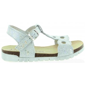 Fashion French sandals for teens in silver leather