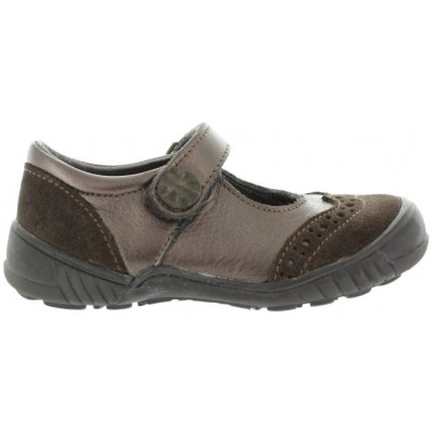 Casual school shoes for girls in brown leather