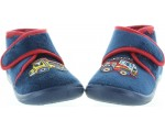 Slippers for kids blue made with wool with cars