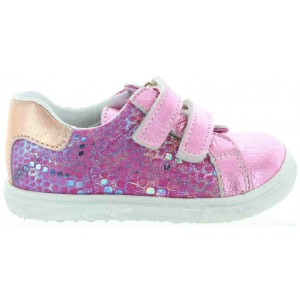 Leather sneakers for toddler in pink metallic leather