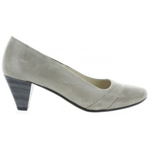 Low heels for women in gray leather