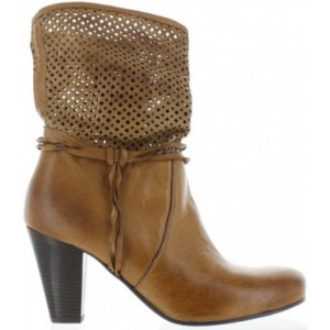 Fashion boots for a women in brown leather