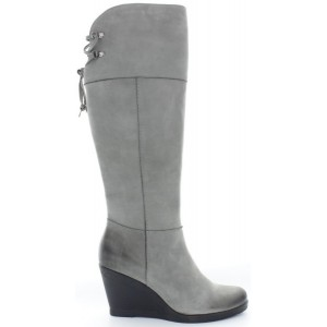 Above the knee fashion boots for women in gray leather
