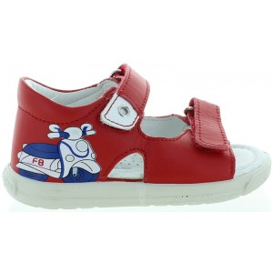 Red leather ankle high sandals for toddler