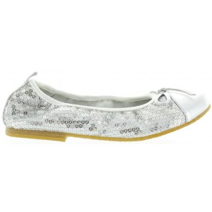 Slip on flats for girls European in silver leather