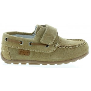 Natural beige leather loafers for child