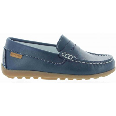 Navy loafers for boys made in Spain