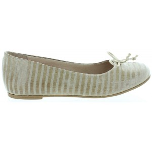Sturdy flats for girls in beige leather