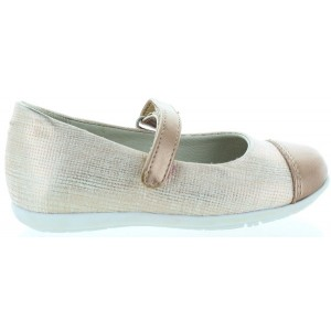 Stylish beige metallic leather dress shoes for girl