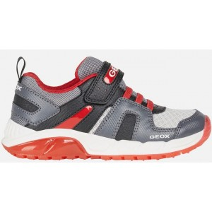 Gray leather sneakers for boys