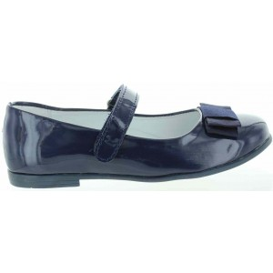 Leather school shoes for a girl in navy patent leather