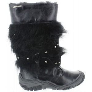Fashion snow boots girls in black leather