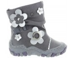 Snow boots for girls in gray leather