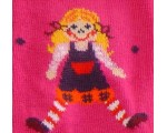 Tights for girls in fuschia with doll