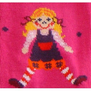 Girls tights with doll print