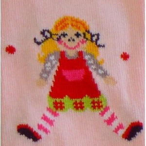 Tights for girls pink with a doll