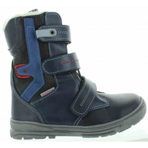 Navy snow boots for a child with wool