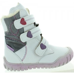 Snow boots for girls in white leather