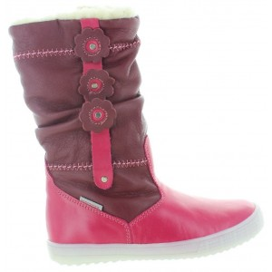 Pink lamb leather boots for a girl in pink