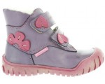 Corrective winter boots for girls in purple leather for toeing in