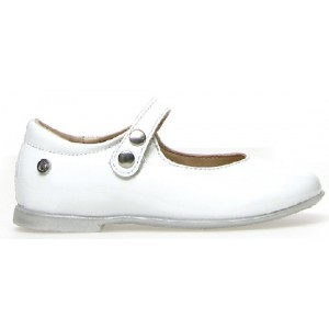 White wide leather mary janes for toddler girl
