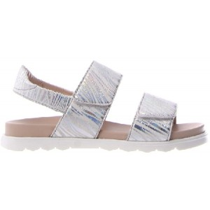 Silver leather sandals for a child.