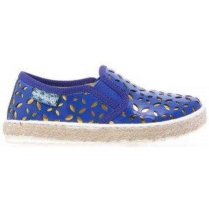 Girls leather shoes with arches in blue leather
