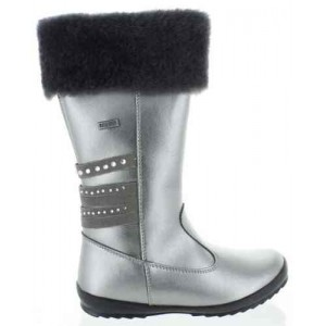 Fashion snow boots for kids in silver leather