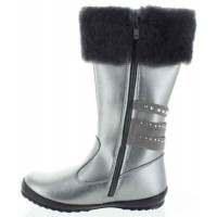 Azalea Silver - Leather Fashion Snow Boots for Kids