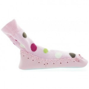 Swedish moccasins for baby girl in polka dots