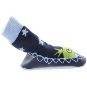 Boys monster slippers with leather non slip soles