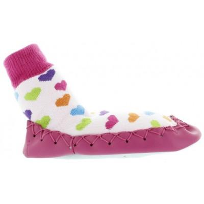 Girls non slip soled mocassins