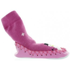 Moccasins with leather soles pink snowman