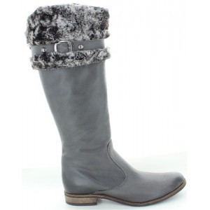 Tall boots for women in gray leather