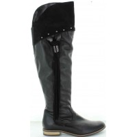 Tazio Black - Tall Black Leather Boots Over the Knees