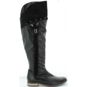 Boots that stretch over the knees that are tall and black
