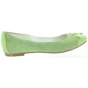 Lime color leather flats for women