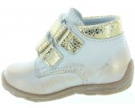 Gold and white leather baby shoes