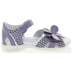 Girl with for heel pronation purple sandals