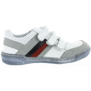 Leather gym shoes for boys in white leather