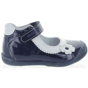 Navy leather shoes for girls ankle high